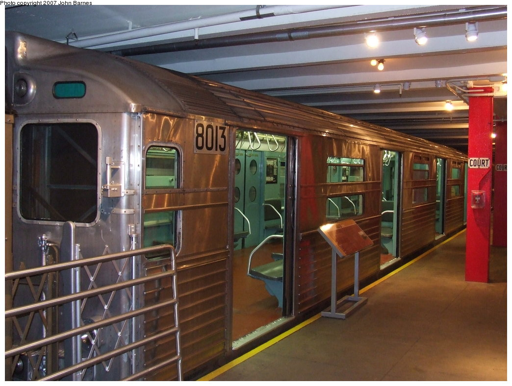 (180k, 1044x788)<br><b>Country:</b> United States<br><b>City:</b> New York<br><b>System:</b> New York City Transit<br><b>Location:</b> New York Transit Museum<br><b>Car:</b> R-11 (Budd, 1949) 8013 <br><b>Photo by:</b> John Barnes<br><b>Date:</b> 7/19/2007<br><b>Viewed (this week/total):</b> 3 / 2287