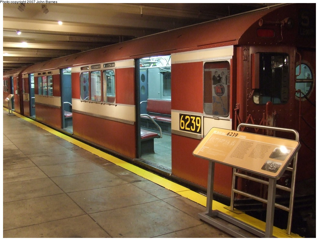 (166k, 1044x788)<br><b>Country:</b> United States<br><b>City:</b> New York<br><b>System:</b> New York City Transit<br><b>Location:</b> New York Transit Museum<br><b>Car:</b> R-15 (American Car & Foundry, 1950) 6239 <br><b>Photo by:</b> John Barnes<br><b>Date:</b> 7/19/2007<br><b>Viewed (this week/total):</b> 2 / 1577