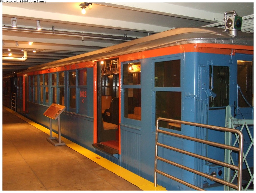 (177k, 1044x788)<br><b>Country:</b> United States<br><b>City:</b> New York<br><b>System:</b> New York City Transit<br><b>Location:</b> New York Transit Museum<br><b>Car:</b> BMT Q 1612C <br><b>Photo by:</b> John Barnes<br><b>Date:</b> 7/19/2007<br><b>Viewed (this week/total):</b> 4 / 2410