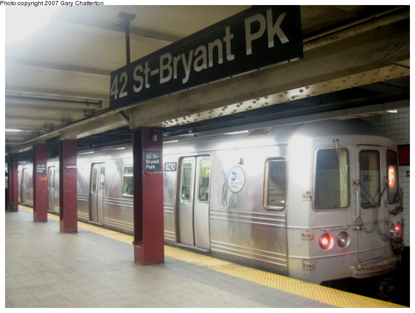 (88k, 820x620)<br><b>Country:</b> United States<br><b>City:</b> New York<br><b>System:</b> New York City Transit<br><b>Line:</b> IND 6th Avenue Line<br><b>Location:</b> 42nd Street/Bryant Park <br><b>Route:</b> F<br><b>Car:</b> R-46 (Pullman-Standard, 1974-75) 6210 <br><b>Photo by:</b> Gary Chatterton<br><b>Date:</b> 7/13/2007<br><b>Viewed (this week/total):</b> 2 / 2072