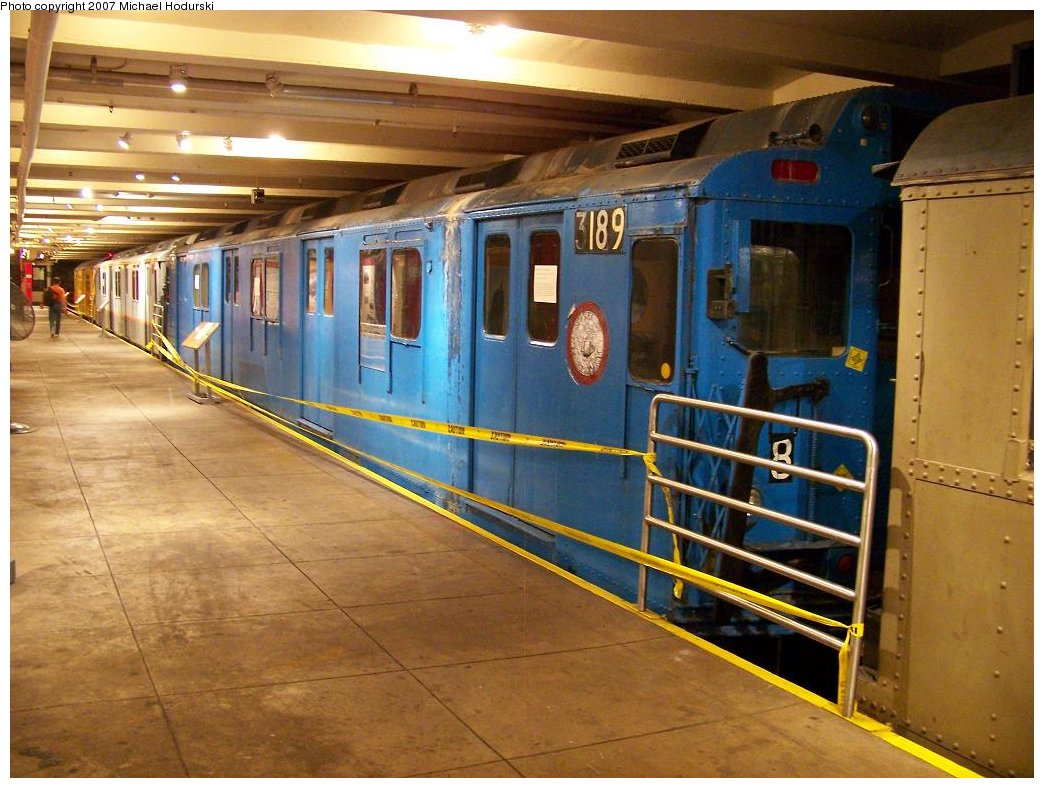 (191k, 1044x788)<br><b>Country:</b> United States<br><b>City:</b> New York<br><b>System:</b> New York City Transit<br><b>Location:</b> New York Transit Museum<br><b>Car:</b> R-10 (American Car & Foundry, 1948) 3189 <br><b>Photo by:</b> Michael Hodurski<br><b>Date:</b> 7/19/2007<br><b>Viewed (this week/total):</b> 8 / 3518
