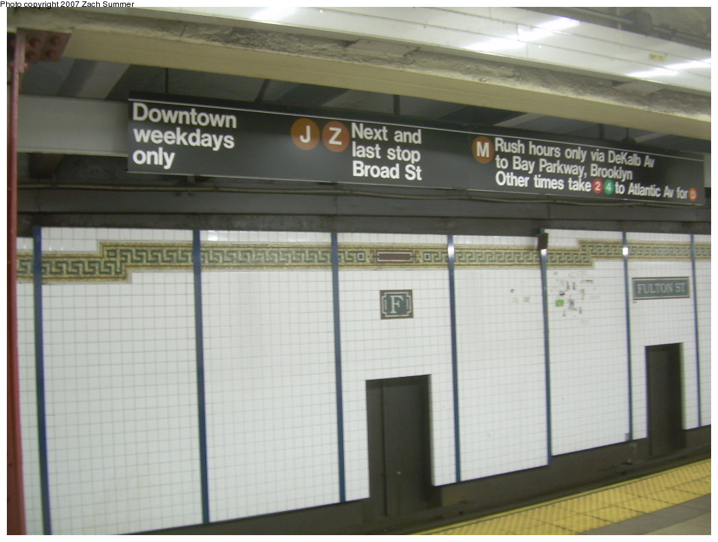 (163k, 1044x788)<br><b>Country:</b> United States<br><b>City:</b> New York<br><b>System:</b> New York City Transit<br><b>Line:</b> BMT Nassau Street/Jamaica Line<br><b>Location:</b> Fulton Street <br><b>Photo by:</b> Zach Summer<br><b>Date:</b> 7/18/2007<br><b>Viewed (this week/total):</b> 2 / 2588