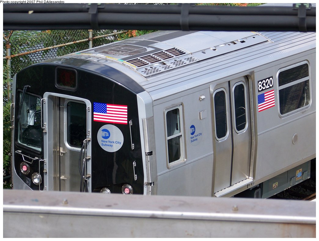 (183k, 1044x788)<br><b>Country:</b> United States<br><b>City:</b> New York<br><b>System:</b> New York City Transit<br><b>Location:</b> East New York Yard/Shops<br><b>Car:</b> R-160A-1 (Alstom, 2005-2008, 4 car sets)  8320 <br><b>Photo by:</b> Philip D'Allesandro<br><b>Date:</b> 7/20/2007<br><b>Viewed (this week/total):</b> 0 / 1577