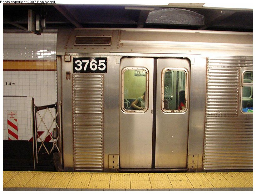 (121k, 820x620)<br><b>Country:</b> United States<br><b>City:</b> New York<br><b>System:</b> New York City Transit<br><b>Line:</b> IND 8th Avenue Line<br><b>Location:</b> 14th Street <br><b>Route:</b> A<br><b>Car:</b> R-32 (Budd, 1964)  3765 <br><b>Photo by:</b> Bob Vogel<br><b>Date:</b> 7/22/2007<br><b>Viewed (this week/total):</b> 2 / 2665
