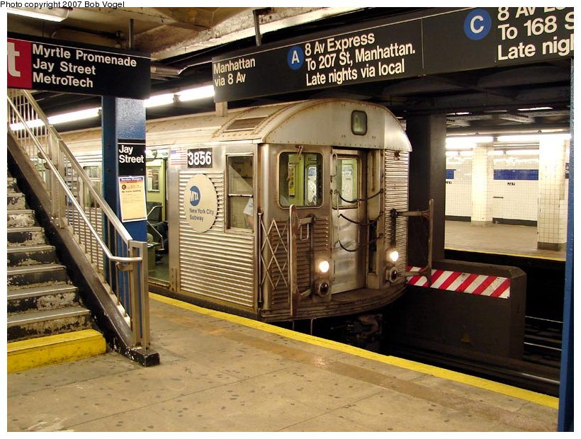 (131k, 820x620)<br><b>Country:</b> United States<br><b>City:</b> New York<br><b>System:</b> New York City Transit<br><b>Line:</b> IND 8th Avenue Line<br><b>Location:</b> Jay St./Metrotech (Borough Hall) <br><b>Route:</b> A<br><b>Car:</b> R-32 (Budd, 1964)  3856 <br><b>Photo by:</b> Bob Vogel<br><b>Date:</b> 7/22/2007<br><b>Viewed (this week/total):</b> 2 / 3672