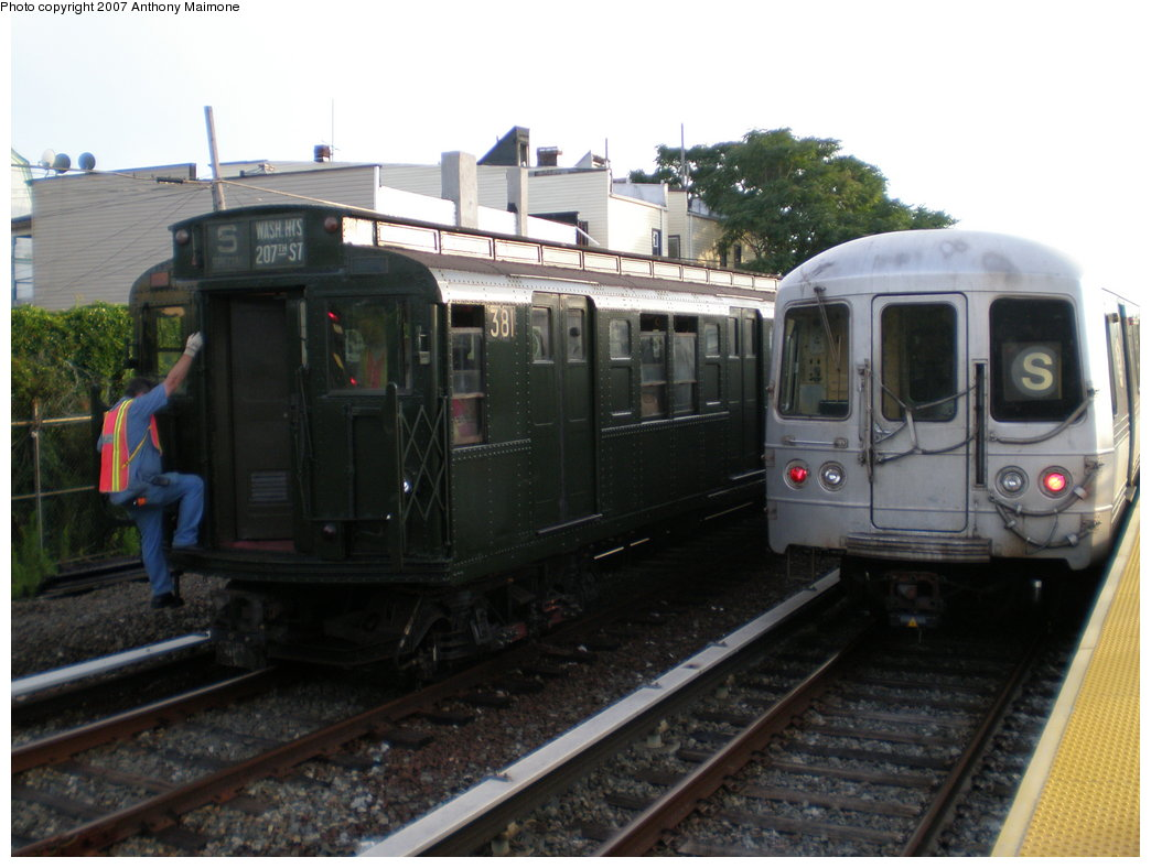 (160k, 1044x788)<br><b>Country:</b> United States<br><b>City:</b> New York<br><b>System:</b> New York City Transit<br><b>Location:</b> Rockaway Park Yard<br><b>Route:</b> Fan Trip<br><b>Car:</b> R-1 (American Car & Foundry, 1930-1931) 381 <br><b>Photo by:</b> Anthony Maimone<br><b>Date:</b> 7/22/2007<br><b>Viewed (this week/total):</b> 3 / 2152