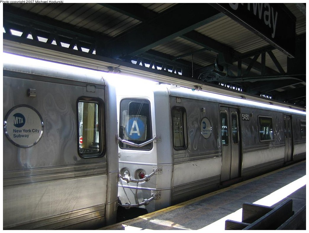 (157k, 1044x788)<br><b>Country:</b> United States<br><b>City:</b> New York<br><b>System:</b> New York City Transit<br><b>Line:</b> IND Rockaway<br><b>Location:</b> Rockaway Park/Beach 116th Street <br><b>Route:</b> A<br><b>Car:</b> R-44 (St. Louis, 1971-73) 5450 <br><b>Photo by:</b> Michael Hodurski<br><b>Date:</b> 4/19/2006<br><b>Viewed (this week/total):</b> 0 / 1701