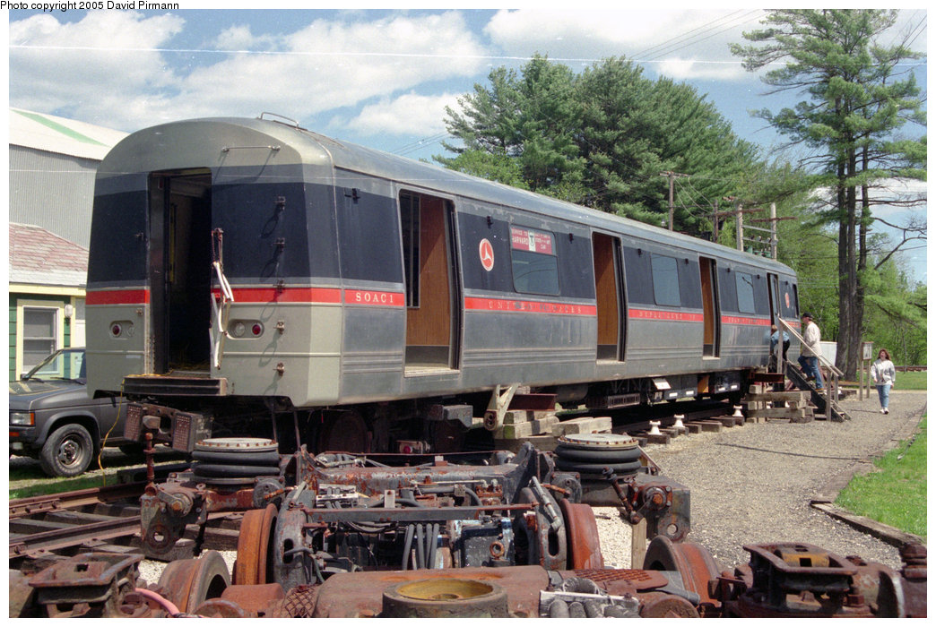 (250k, 1044x700)<br><b>Country:</b> United States<br><b>City:</b> Kennebunk, ME<br><b>System:</b> Seashore Trolley Museum <br><b>Car:</b> SOAC  <br><b>Photo by:</b> David Pirmann<br><b>Date:</b> 5/25/1996<br><b>Notes:</b> Exterior blind-end view (notice the resemblence to the R42)<br><b>Viewed (this week/total):</b> 11 / 15136