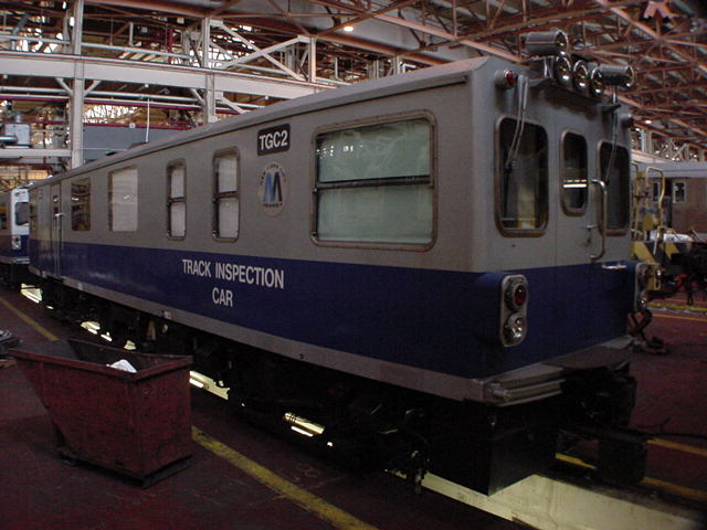 (59k, 640x480)<br><b>Country:</b> United States<br><b>City:</b> New York<br><b>System:</b> New York City Transit<br><b>Location:</b> Coney Island Shop/Overhaul & Repair Shop<br><b>Car:</b> Track Geometry Car TGC2 <br><b>Photo by:</b> Salaam Allah<br><b>Date:</b> 10/29/2000<br><b>Viewed (this week/total):</b> 2 / 4514