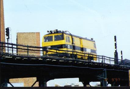 (20k, 426x292)<br><b>Country:</b> United States<br><b>City:</b> New York<br><b>System:</b> New York City Transit<br><b>Location:</b> Coney Island Yard<br><b>Car:</b> Sperry Rail Service  403 <br><b>Photo by:</b> Jesse R. Foust<br><b>Notes:</b> On Culver yard lead near Ave. X<br><b>Viewed (this week/total):</b> 1 / 4340
