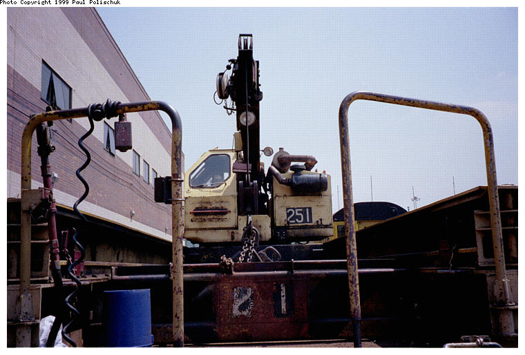 (73k, 760x514)<br><b>Country:</b> United States<br><b>City:</b> New York<br><b>System:</b> New York City Transit<br><b>Location:</b> Corona Yard<br><b>Car:</b> Crane Car 251 <br><b>Photo by:</b> Paul Polischuk<br><b>Date:</b> 6/25/1999<br><b>Viewed (this week/total):</b> 0 / 3146
