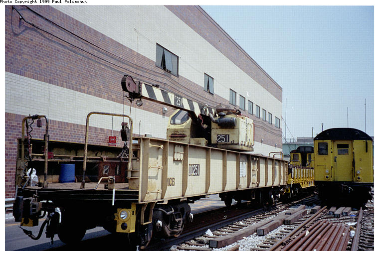 (91k, 760x514)<br><b>Country:</b> United States<br><b>City:</b> New York<br><b>System:</b> New York City Transit<br><b>Location:</b> Corona Yard<br><b>Car:</b> Crane Car 251 <br><b>Photo by:</b> Paul Polischuk<br><b>Date:</b> 6/25/1999<br><b>Viewed (this week/total):</b> 0 / 3173