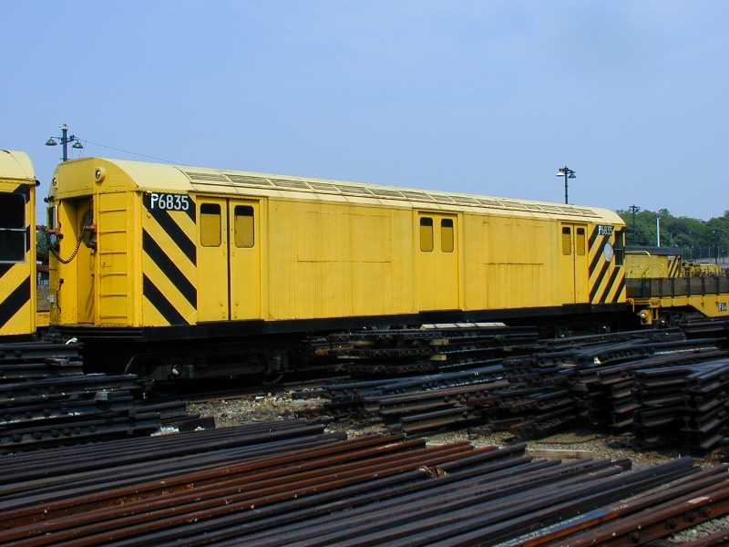 (45k, 800x600)<br><b>Country:</b> United States<br><b>City:</b> New York<br><b>System:</b> New York City Transit<br><b>Location:</b> 36th Street Yard<br><b>Car:</b> R-71 Pump/Reach Car (R-17/R-21/R-22 Rebuilds) P6835 (ex-6835)<br><b>Photo by:</b> Jeff Erlitz<br><b>Date:</b> 5/27/2002<br><b>Notes:</b> Reach car<br><b>Viewed (this week/total):</b> 0 / 4906