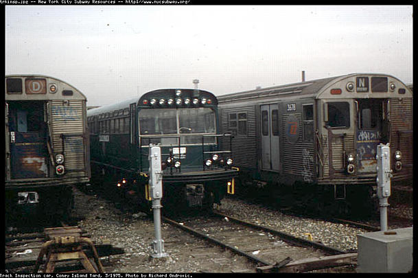 (51k, 609x405)<br><b>Country:</b> United States<br><b>City:</b> New York<br><b>System:</b> New York City Transit<br><b>Location:</b> Coney Island Yard<br><b>Car:</b> Observation Car 0F116 <br><b>Photo by:</b> Richard Ondrovic<br><b>Date:</b> 3/1975<br><b>Viewed (this week/total):</b> 1 / 4737