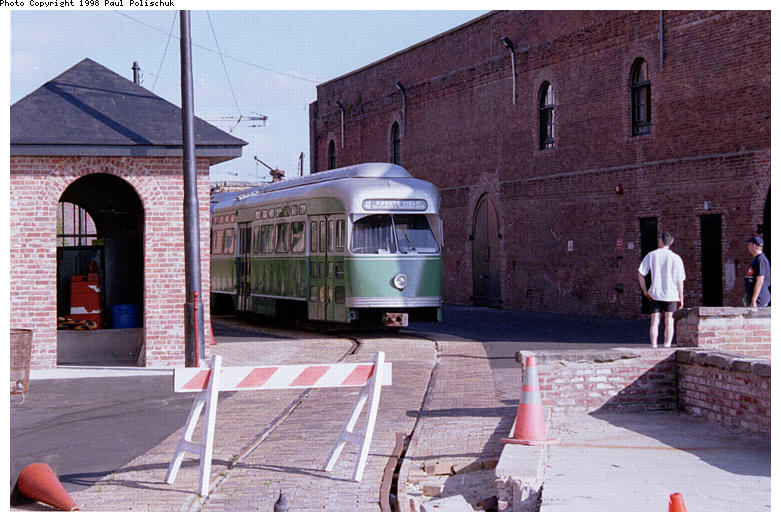 (93k, 781x522)<br><b>Country:</b> United States<br><b>City:</b> New York<br><b>System:</b> Brooklyn Trolley Museum <br><b>Car:</b> MBTA/BSRy PCC Post-War Picture Window (Pullman-Standard, 1951)  3321 <br><b>Photo by:</b> Paul Polischuk<br><b>Date:</b> 1998<br><b>Notes:</b> PCC 3321 with station house under construction<br><b>Viewed (this week/total):</b> 3 / 4046