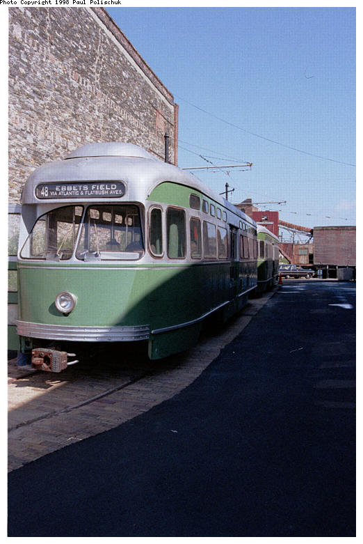 (72k, 522x781)<br><b>Country:</b> United States<br><b>City:</b> New York<br><b>System:</b> Brooklyn Trolley Museum <br><b>Car:</b> MBTA/BSRy PCC Post-War Picture Window (Pullman-Standard, 1951)  3321 <br><b>Photo by:</b> Paul Polischuk<br><b>Date:</b> 1998<br><b>Notes:</b> Sideview of both PCCs<br><b>Viewed (this week/total):</b> 2 / 2438