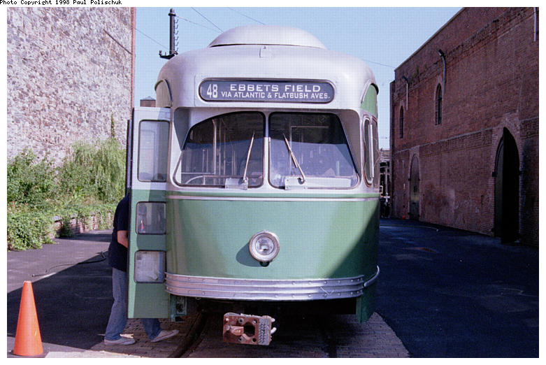 (86k, 781x522)<br><b>Country:</b> United States<br><b>City:</b> New York<br><b>System:</b> Brooklyn Trolley Museum <br><b>Car:</b> MBTA/BSRy PCC Post-War Picture Window (Pullman-Standard, 1951)  3321 <br><b>Photo by:</b> Paul Polischuk<br><b>Date:</b> 1998<br><b>Notes:</b> Front view of PCC 3321<br><b>Viewed (this week/total):</b> 2 / 3413