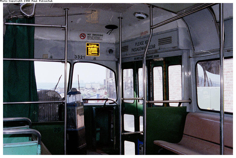 (85k, 781x522)<br><b>Country:</b> United States<br><b>City:</b> New York<br><b>System:</b> Brooklyn Trolley Museum <br><b>Car:</b> MBTA/BSRy PCC Post-War Picture Window (Pullman-Standard, 1951)  3321 <br><b>Photo by:</b> Paul Polischuk<br><b>Date:</b> 1998<br><b>Notes:</b> Interior view-front<br><b>Viewed (this week/total):</b> 0 / 3088