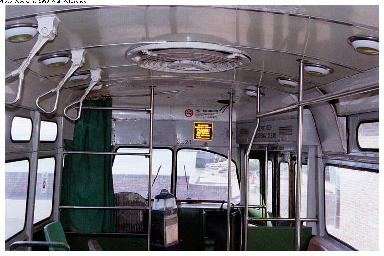 (90k, 781x522)<br><b>Country:</b> United States<br><b>City:</b> New York<br><b>System:</b> Brooklyn Trolley Museum <br><b>Car:</b> MBTA/BSRy PCC Post-War Picture Window (Pullman-Standard, 1951)  3321 <br><b>Photo by:</b> Paul Polischuk<br><b>Date:</b> 1998<br><b>Notes:</b> Interior view-front<br><b>Viewed (this week/total):</b> 1 / 2841