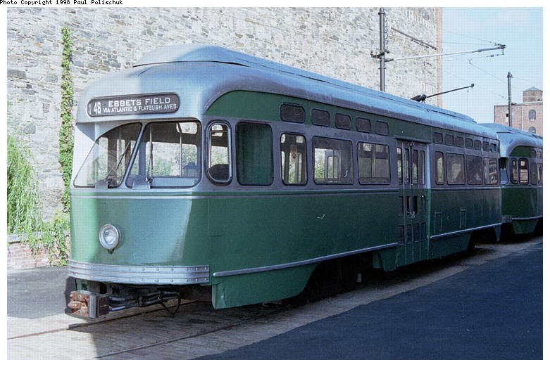 (83k, 781x522)<br><b>Country:</b> United States<br><b>City:</b> New York<br><b>System:</b> Brooklyn Trolley Museum <br><b>Car:</b> MBTA/BSRy PCC Post-War Picture Window (Pullman-Standard, 1951)  3321 <br><b>Photo by:</b> Paul Polischuk<br><b>Date:</b> 1998<br><b>Notes:</b> Sideview of PCC 3321<br><b>Viewed (this week/total):</b> 2 / 4732