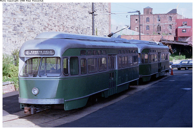 (87k, 781x522)<br><b>Country:</b> United States<br><b>City:</b> New York<br><b>System:</b> Brooklyn Trolley Museum <br><b>Car:</b> MBTA/BSRy PCC Post-War Picture Window (Pullman-Standard, 1951)  3321 <br><b>Photo by:</b> Paul Polischuk<br><b>Date:</b> 1998<br><b>Notes:</b> Both PCCs under restoration<br><b>Viewed (this week/total):</b> 3 / 3551
