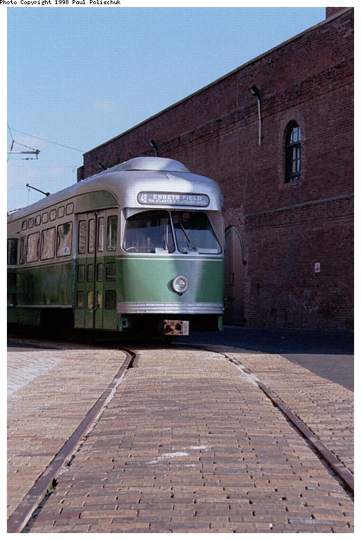 (82k, 522x781)<br><b>Country:</b> United States<br><b>City:</b> New York<br><b>System:</b> Brooklyn Trolley Museum <br><b>Car:</b> MBTA/BSRy PCC Post-War Picture Window (Pullman-Standard, 1951)  3321 <br><b>Photo by:</b> Paul Polischuk<br><b>Date:</b> 1998<br><b>Notes:</b> Front view of PCC 3321 with completed roadbed<br><b>Viewed (this week/total):</b> 1 / 2317