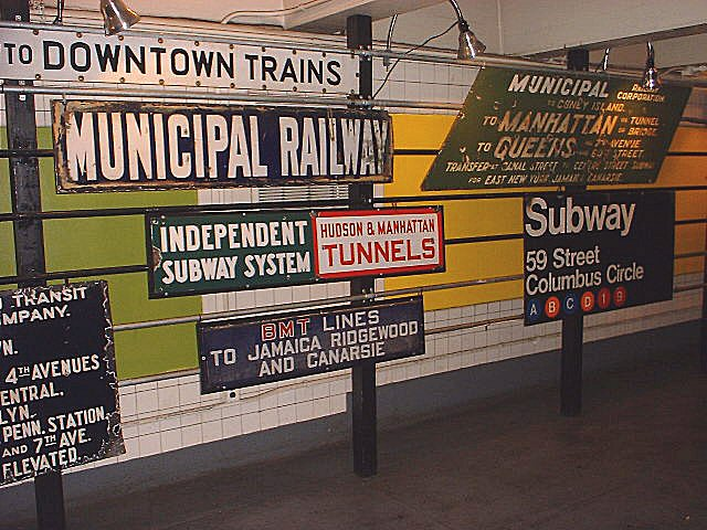 (97k, 640x480)<br><b>Country:</b> United States<br><b>City:</b> New York<br><b>System:</b> New York City Transit<br><b>Location:</b> New York Transit Museum<br><b>Photo by:</b> Peggy Darlington<br><b>Notes:</b> Signage Exhibit<br><b>Viewed (this week/total):</b> 1 / 8309