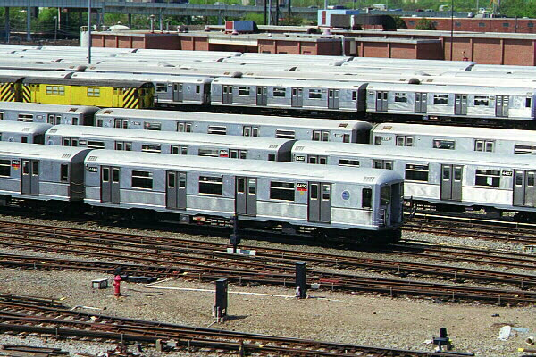 (173k, 600x400)<br><b>Country:</b> United States<br><b>City:</b> New York<br><b>System:</b> New York City Transit<br><b>Location:</b> Coney Island Yard<br><b>Car:</b> R-40M (St. Louis, 1969)  4450 <br><b>Photo by:</b> Sidney Keyles<br><b>Date:</b> 5/22/1999<br><b>Notes:</b> View of yard<br><b>Viewed (this week/total):</b> 2 / 3894