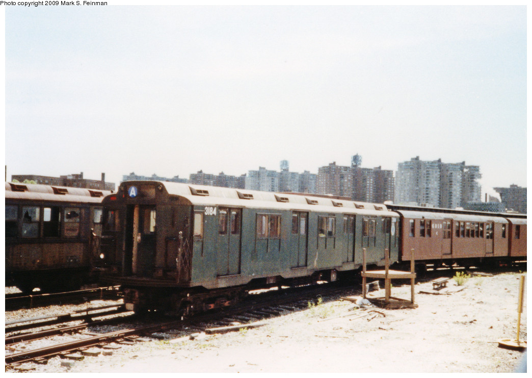 (195k, 1044x741)<br><b>Country:</b> United States<br><b>City:</b> New York<br><b>System:</b> New York City Transit<br><b>Location:</b> Coney Island Yard-Museum Yard<br><b>Car:</b> R-10 (American Car & Foundry, 1948) 3184 <br><b>Photo by:</b> Mark S. Feinman<br><b>Date:</b> 5/30/1993<br><b>Notes:</b> Museum fleet view<br><b>Viewed (this week/total):</b> 2 / 3520