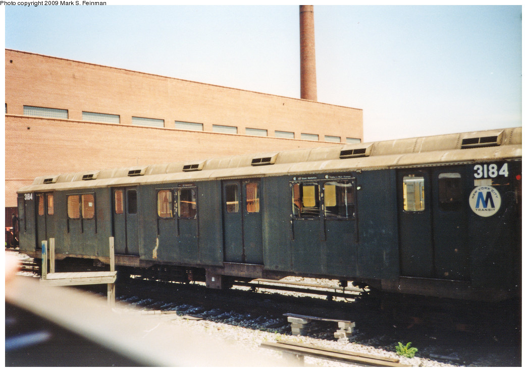 (206k, 1044x738)<br><b>Country:</b> United States<br><b>City:</b> New York<br><b>System:</b> New York City Transit<br><b>Location:</b> Coney Island Yard-Museum Yard<br><b>Car:</b> R-10 (American Car & Foundry, 1948) 3184 <br><b>Photo by:</b> Mark S. Feinman<br><b>Date:</b> 5/30/1993<br><b>Viewed (this week/total):</b> 5 / 3609