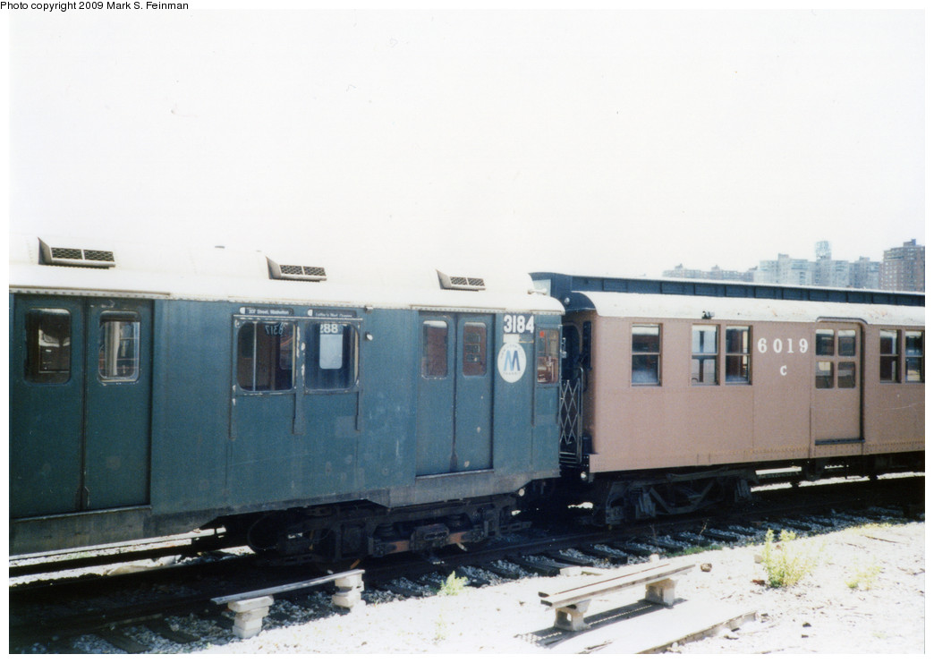 (166k, 1044x741)<br><b>Country:</b> United States<br><b>City:</b> New York<br><b>System:</b> New York City Transit<br><b>Location:</b> Coney Island Yard-Museum Yard<br><b>Car:</b> R-10 (American Car & Foundry, 1948) 3184 <br><b>Photo by:</b> Mark S. Feinman<br><b>Date:</b> 5/30/1993<br><b>Notes:</b> With D-Type 6019<br><b>Viewed (this week/total):</b> 1 / 2838