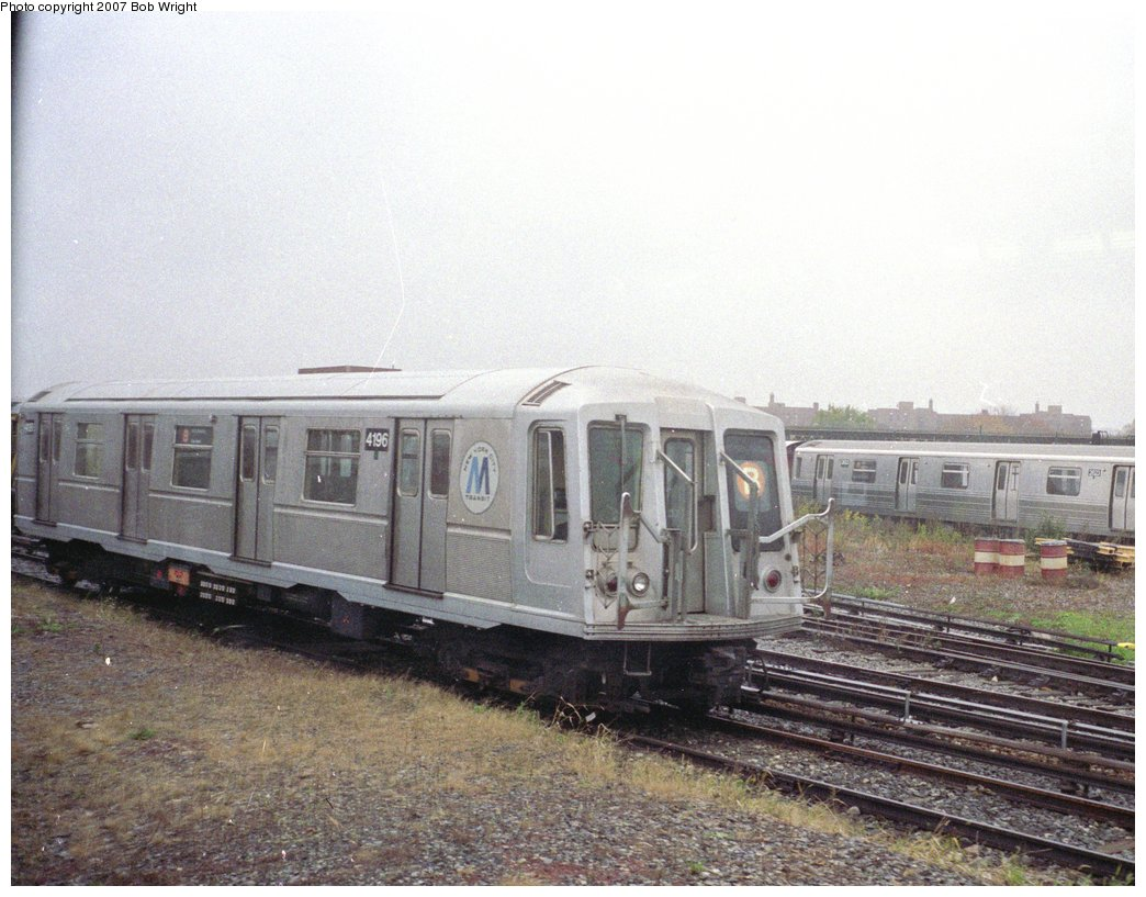 (166k, 1044x817)<br><b>Country:</b> United States<br><b>City:</b> New York<br><b>System:</b> New York City Transit<br><b>Location:</b> Coney Island Yard<br><b>Car:</b> R-40 (St. Louis, 1968)  4196 <br><b>Photo by:</b> Bob Wright<br><b>Date:</b> 11/10/1991<br><b>Viewed (this week/total):</b> 3 / 2104