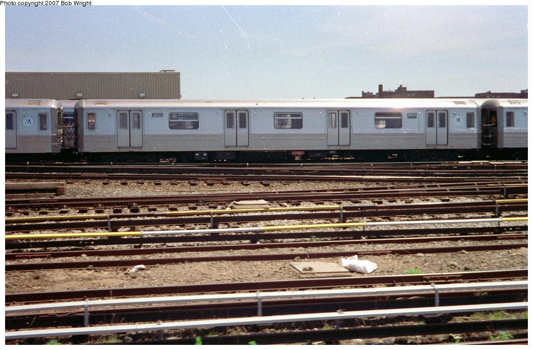 (164k, 1044x686)<br><b>Country:</b> United States<br><b>City:</b> New York<br><b>System:</b> New York City Transit<br><b>Location:</b> Coney Island Yard<br><b>Car:</b> R-68 (Westinghouse-Amrail, 1986-1988)  2623 <br><b>Photo by:</b> Bob Wright<br><b>Date:</b> 5/30/1993<br><b>Viewed (this week/total):</b> 2 / 2148