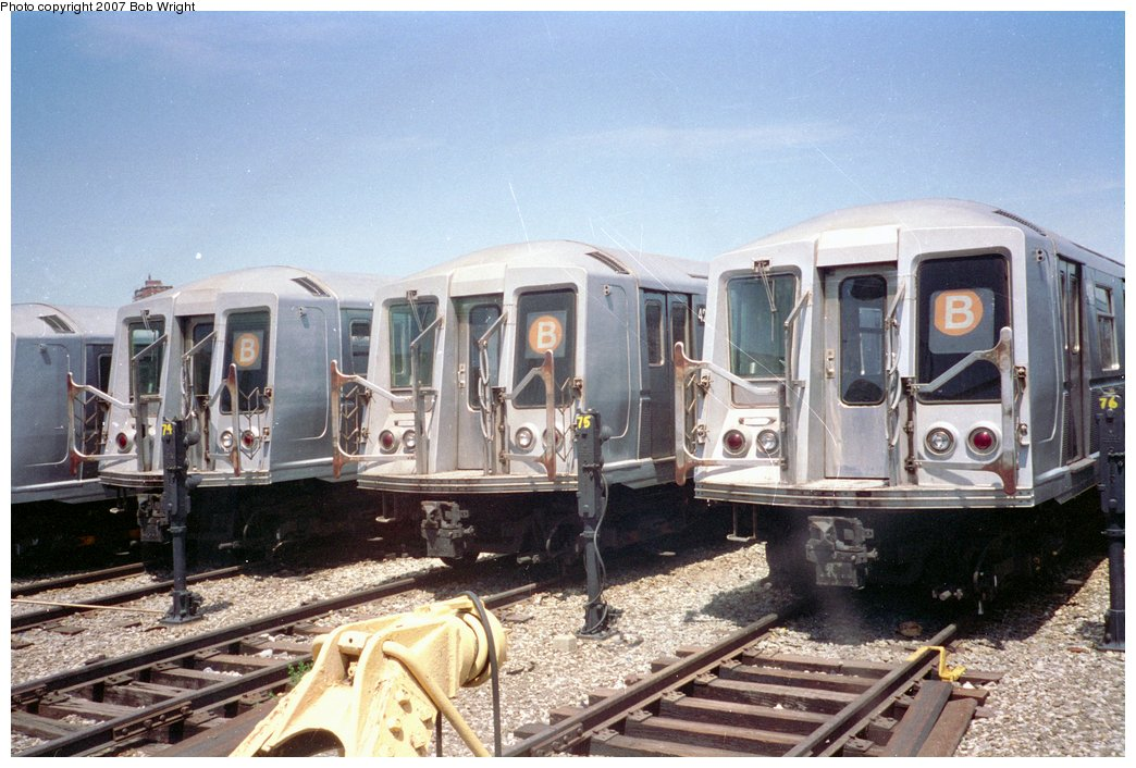 (166k, 1044x706)<br><b>Country:</b> United States<br><b>City:</b> New York<br><b>System:</b> New York City Transit<br><b>Location:</b> Coney Island Yard<br><b>Car:</b> R-40 (St. Louis, 1968)   <br><b>Photo by:</b> Bob Wright<br><b>Date:</b> 5/30/1993<br><b>Viewed (this week/total):</b> 2 / 2582