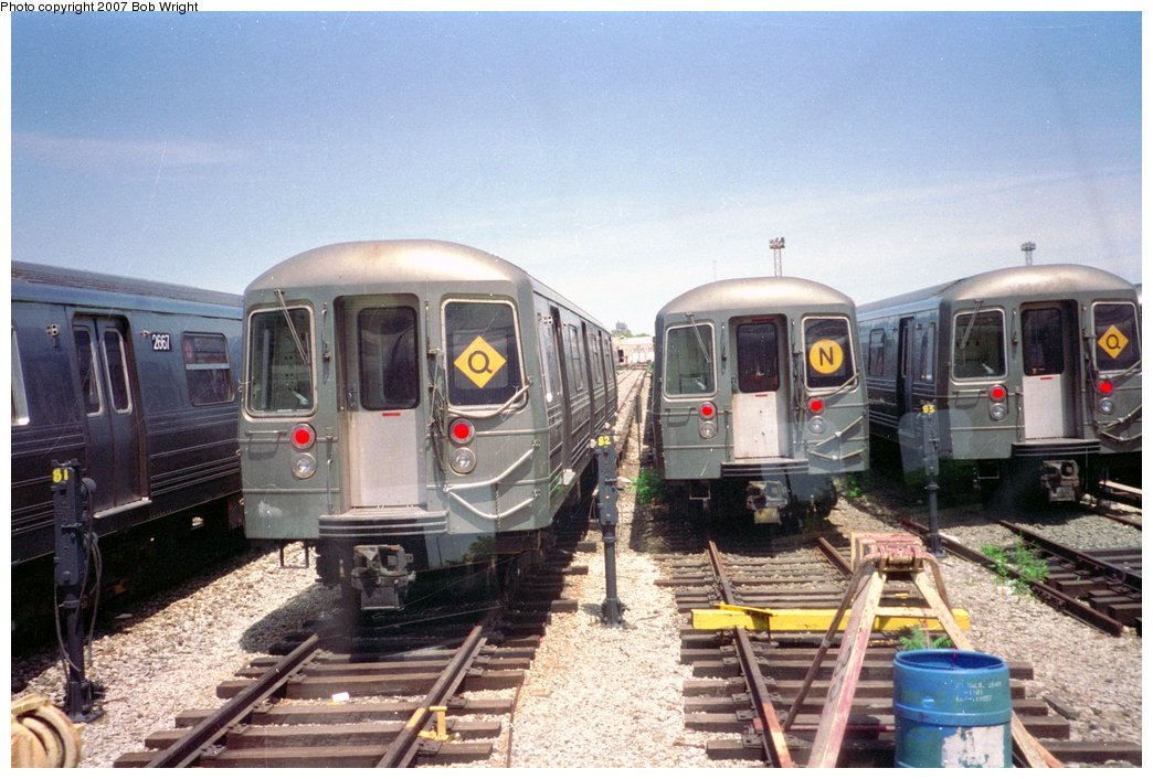 (163k, 1044x706)<br><b>Country:</b> United States<br><b>City:</b> New York<br><b>System:</b> New York City Transit<br><b>Location:</b> Coney Island Yard<br><b>Car:</b> R-68/R-68A Series (Number Unknown)  <br><b>Photo by:</b> Bob Wright<br><b>Date:</b> 5/30/1993<br><b>Viewed (this week/total):</b> 3 / 2241