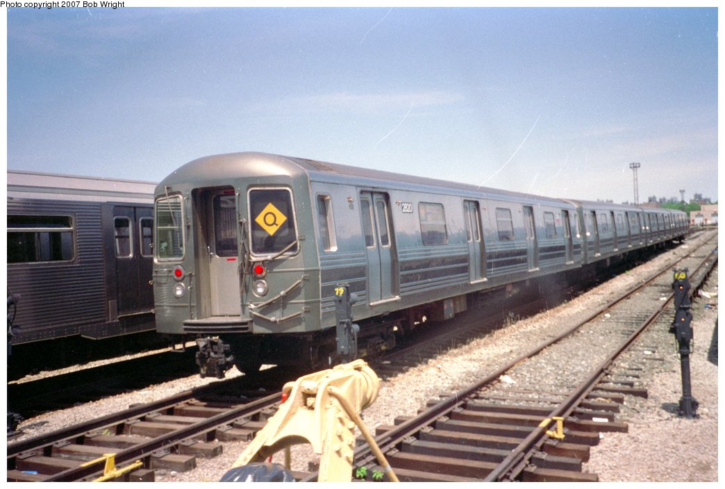 (142k, 1044x704)<br><b>Country:</b> United States<br><b>City:</b> New York<br><b>System:</b> New York City Transit<br><b>Location:</b> Coney Island Yard<br><b>Car:</b> R-68 (Westinghouse-Amrail, 1986-1988)  2820 <br><b>Photo by:</b> Bob Wright<br><b>Date:</b> 5/30/1993<br><b>Viewed (this week/total):</b> 3 / 2180