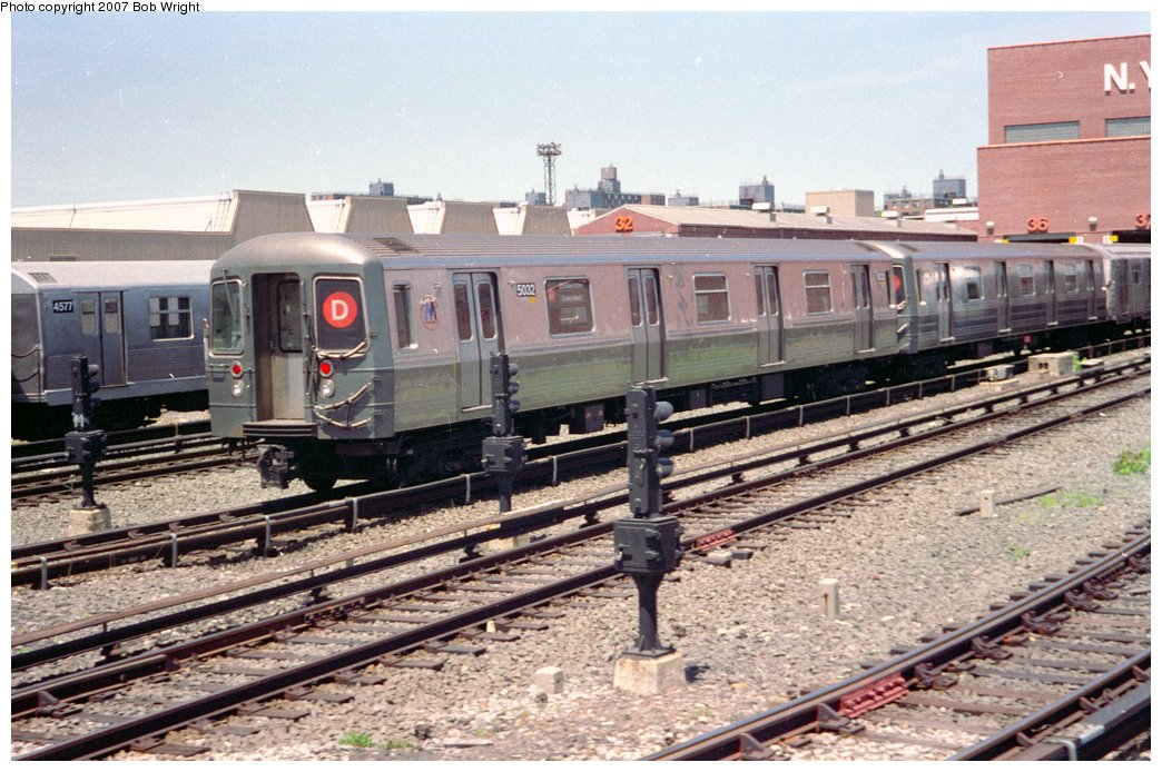 (182k, 1044x694)<br><b>Country:</b> United States<br><b>City:</b> New York<br><b>System:</b> New York City Transit<br><b>Location:</b> Coney Island Yard<br><b>Car:</b> R-68A (Kawasaki, 1988-1989)  5032 <br><b>Photo by:</b> Bob Wright<br><b>Date:</b> 5/30/1993<br><b>Viewed (this week/total):</b> 1 / 1985