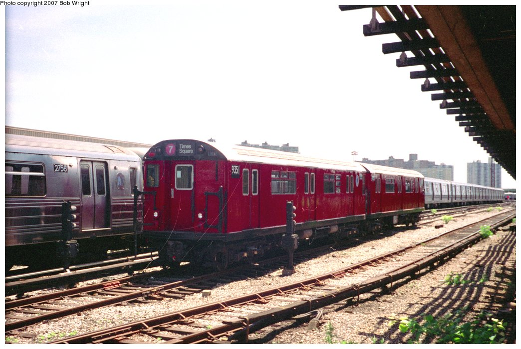 (156k, 1044x701)<br><b>Country:</b> United States<br><b>City:</b> New York<br><b>System:</b> New York City Transit<br><b>Location:</b> Coney Island Yard<br><b>Car:</b> R-36 World's Fair (St. Louis, 1963-64) 9351 <br><b>Photo by:</b> Bob Wright<br><b>Date:</b> 5/30/1993<br><b>Viewed (this week/total):</b> 16 / 2753