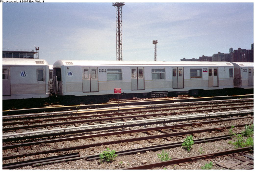 (179k, 1044x701)<br><b>Country:</b> United States<br><b>City:</b> New York<br><b>System:</b> New York City Transit<br><b>Location:</b> Coney Island Yard<br><b>Car:</b> R-40M (St. Louis, 1969)  4549 <br><b>Photo by:</b> Bob Wright<br><b>Date:</b> 5/30/1993<br><b>Viewed (this week/total):</b> 7 / 2194