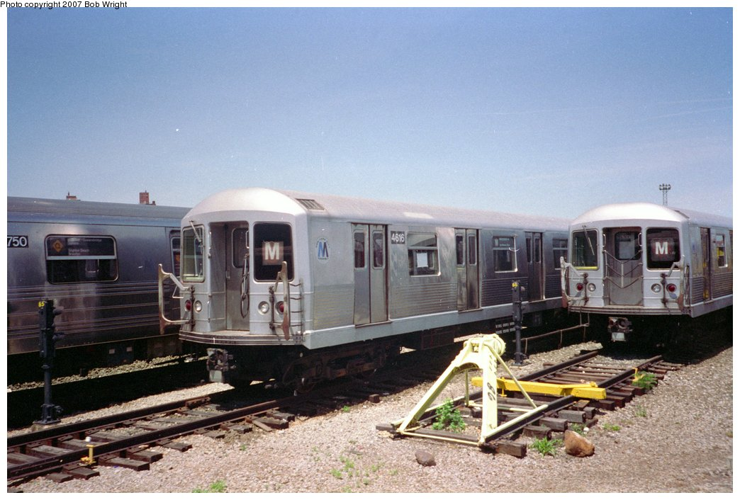 (149k, 1044x706)<br><b>Country:</b> United States<br><b>City:</b> New York<br><b>System:</b> New York City Transit<br><b>Location:</b> Coney Island Yard<br><b>Car:</b> R-42 (St. Louis, 1969-1970)  4616 <br><b>Photo by:</b> Bob Wright<br><b>Date:</b> 5/30/1993<br><b>Viewed (this week/total):</b> 0 / 1643