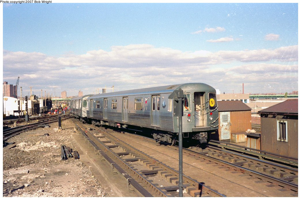 (166k, 1044x695)<br><b>Country:</b> United States<br><b>City:</b> New York<br><b>System:</b> New York City Transit<br><b>Location:</b> Coney Island/Stillwell Avenue<br><b>Route:</b> N<br><b>Car:</b> R-68 (Westinghouse-Amrail, 1986-1988)  2547 <br><b>Photo by:</b> Bob Wright<br><b>Date:</b> 11/1988<br><b>Viewed (this week/total):</b> 5 / 3494