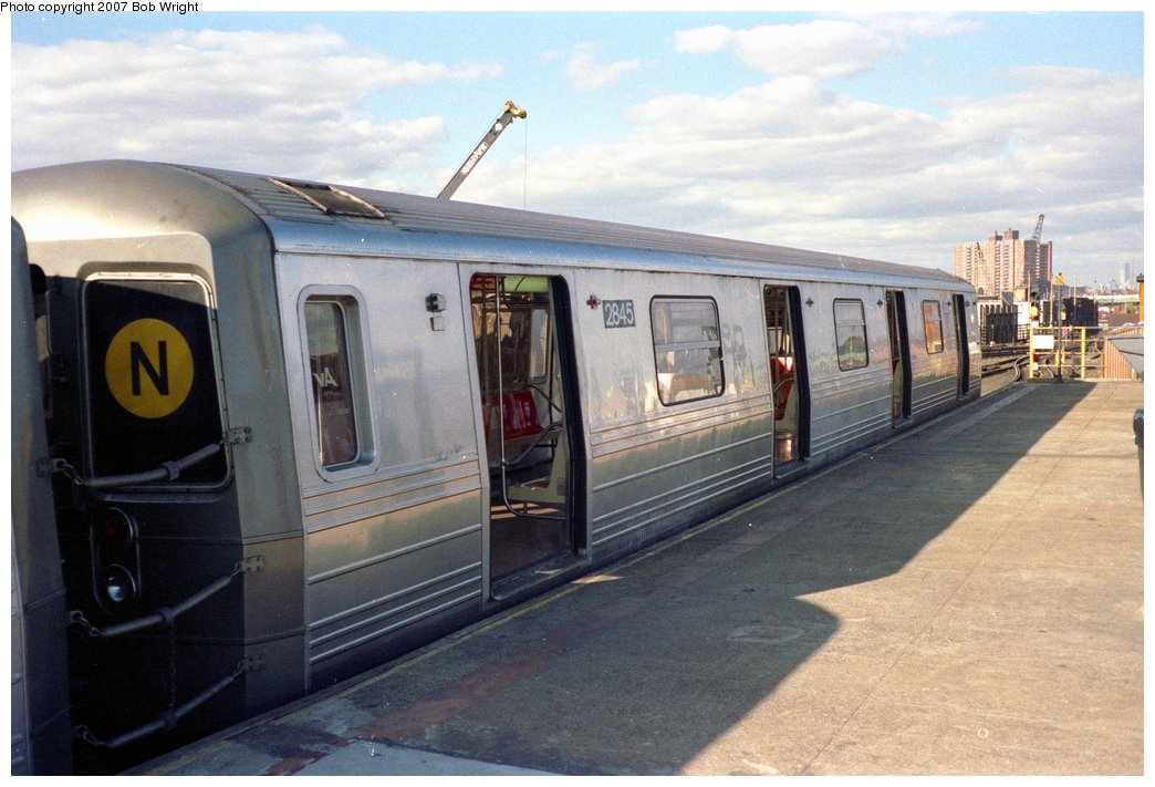 (141k, 1044x711)<br><b>Country:</b> United States<br><b>City:</b> New York<br><b>System:</b> New York City Transit<br><b>Location:</b> Coney Island/Stillwell Avenue<br><b>Route:</b> N<br><b>Car:</b> R-68 (Westinghouse-Amrail, 1986-1988)  2845 <br><b>Photo by:</b> Bob Wright<br><b>Date:</b> 11/1988<br><b>Viewed (this week/total):</b> 4 / 2739