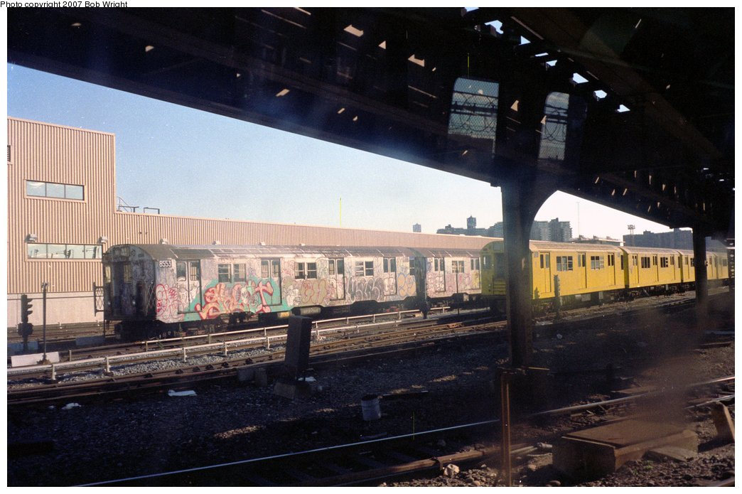 (146k, 1044x695)<br><b>Country:</b> United States<br><b>City:</b> New York<br><b>System:</b> New York City Transit<br><b>Location:</b> Coney Island Yard<br><b>Car:</b> R-30 (St. Louis, 1961) 8553 <br><b>Photo by:</b> Bob Wright<br><b>Date:</b> 11/1988<br><b>Viewed (this week/total):</b> 12 / 2683