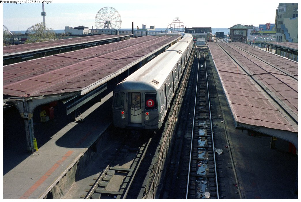 (164k, 1044x701)<br><b>Country:</b> United States<br><b>City:</b> New York<br><b>System:</b> New York City Transit<br><b>Location:</b> Coney Island/Stillwell Avenue<br><b>Route:</b> D<br><b>Car:</b> R-68/R-68A Series (Number Unknown)  <br><b>Photo by:</b> Bob Wright<br><b>Date:</b> 11/1988<br><b>Viewed (this week/total):</b> 0 / 2984
