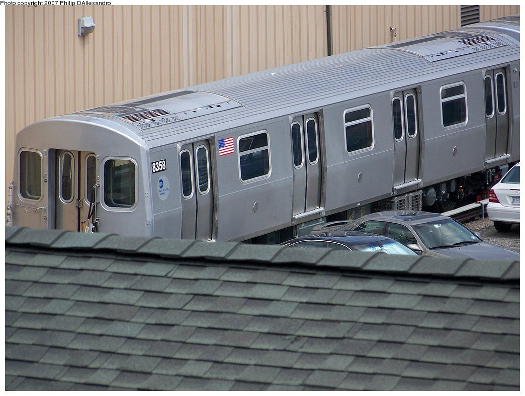 (168k, 1044x788)<br><b>Country:</b> United States<br><b>City:</b> New York<br><b>System:</b> New York City Transit<br><b>Location:</b> 207th Street Yard<br><b>Car:</b> R-160A-1 (Alstom, 2005-2008, 4 car sets)  8358 <br><b>Photo by:</b> Philip D'Allesandro<br><b>Date:</b> 7/27/2007<br><b>Viewed (this week/total):</b> 0 / 2099