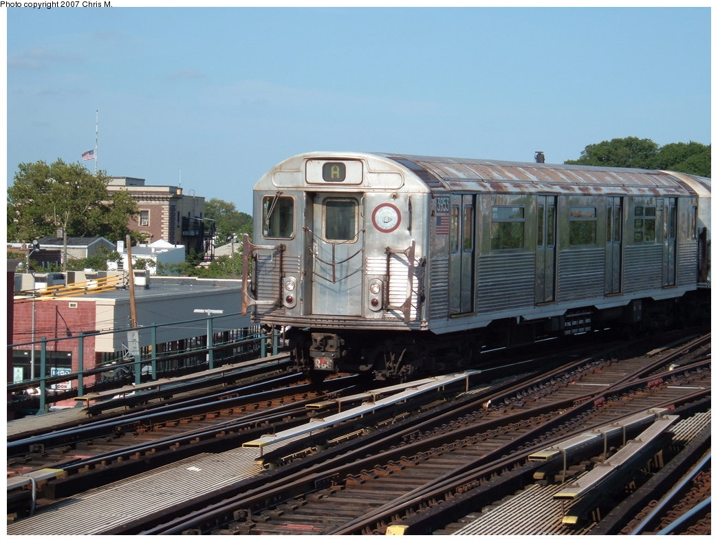 (203k, 1044x788)<br><b>Country:</b> United States<br><b>City:</b> New York<br><b>System:</b> New York City Transit<br><b>Line:</b> IND Fulton Street Line<br><b>Location:</b> Rockaway Boulevard <br><b>Route:</b> A<br><b>Car:</b> R-38 (St. Louis, 1966-1967)  3953 <br><b>Photo by:</b> Chris M.<br><b>Date:</b> 7/27/2007<br><b>Viewed (this week/total):</b> 2 / 1355