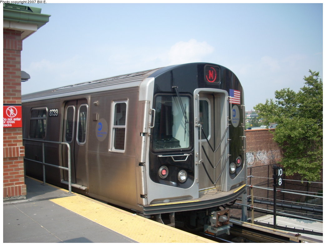 (179k, 1044x788)<br><b>Country:</b> United States<br><b>City:</b> New York<br><b>System:</b> New York City Transit<br><b>Location:</b> Coney Island/Stillwell Avenue<br><b>Route:</b> N<br><b>Car:</b> R-160B (Kawasaki, 2005-2008)  8733 <br><b>Photo by:</b> Bill E.<br><b>Date:</b> 7/28/2007<br><b>Viewed (this week/total):</b> 1 / 1308