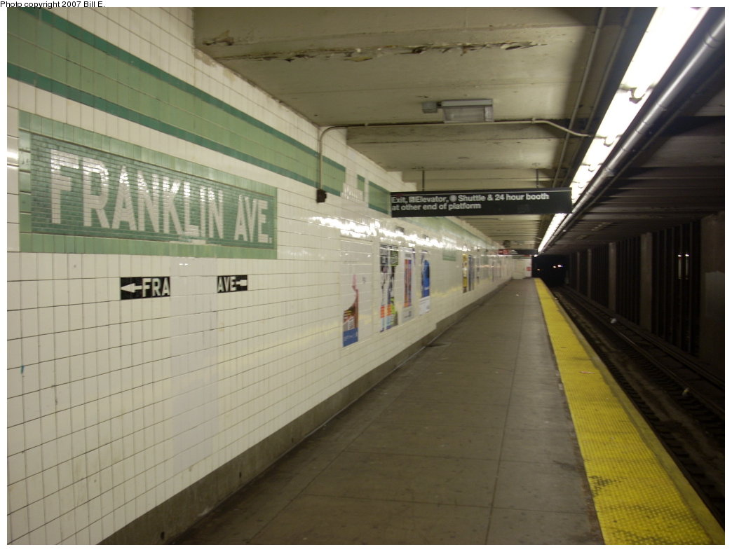 (160k, 1044x788)<br><b>Country:</b> United States<br><b>City:</b> New York<br><b>System:</b> New York City Transit<br><b>Line:</b> IND Fulton Street Line<br><b>Location:</b> Franklin Avenue <br><b>Photo by:</b> Bill E.<br><b>Date:</b> 7/28/2007<br><b>Viewed (this week/total):</b> 13 / 1723