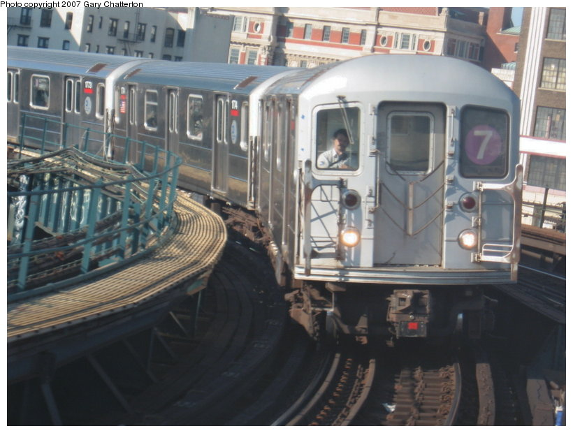 (106k, 820x620)<br><b>Country:</b> United States<br><b>City:</b> New York<br><b>System:</b> New York City Transit<br><b>Line:</b> IRT Flushing Line<br><b>Location:</b> Hunterspoint Avenue <br><b>Route:</b> 7<br><b>Car:</b> R-62A (Bombardier, 1984-1987)  1775 <br><b>Photo by:</b> Gary Chatterton<br><b>Date:</b> 7/31/2007<br><b>Viewed (this week/total):</b> 0 / 1978