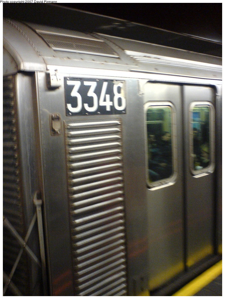 (169k, 788x1044)<br><b>Country:</b> United States<br><b>City:</b> New York<br><b>System:</b> New York City Transit<br><b>Line:</b> IND 6th Avenue Line<br><b>Location:</b> 34th Street/Herald Square <br><b>Route:</b> F<br><b>Car:</b> R-32 (Budd, 1964)  3348 <br><b>Photo by:</b> David Pirmann<br><b>Date:</b> 12/4/2006<br><b>Viewed (this week/total):</b> 3 / 2536
